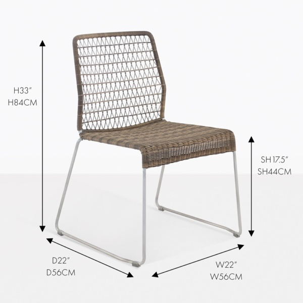 edge wicker dining side chair sampulut