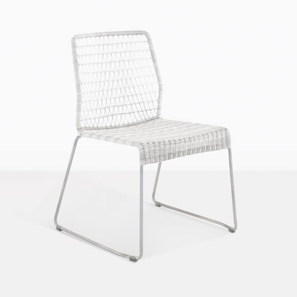 Edge White Wicker And Steel Dining Chair