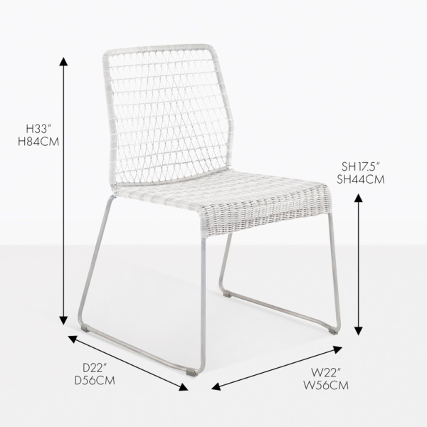 edge wicker dining side chair white