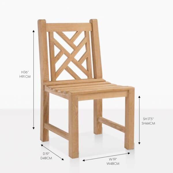 elizabeth teak side dining chair