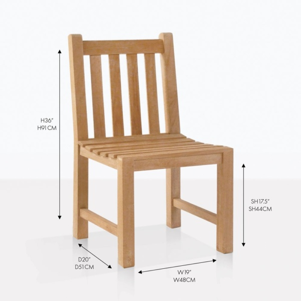 garden teak side dining chair
