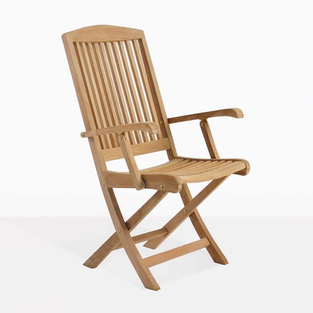 Halimah Teak Folding Arm Chair Outdoor Patio Wood Seating