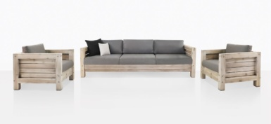 Lodge Distressed Teak Sofa And Club Chairs