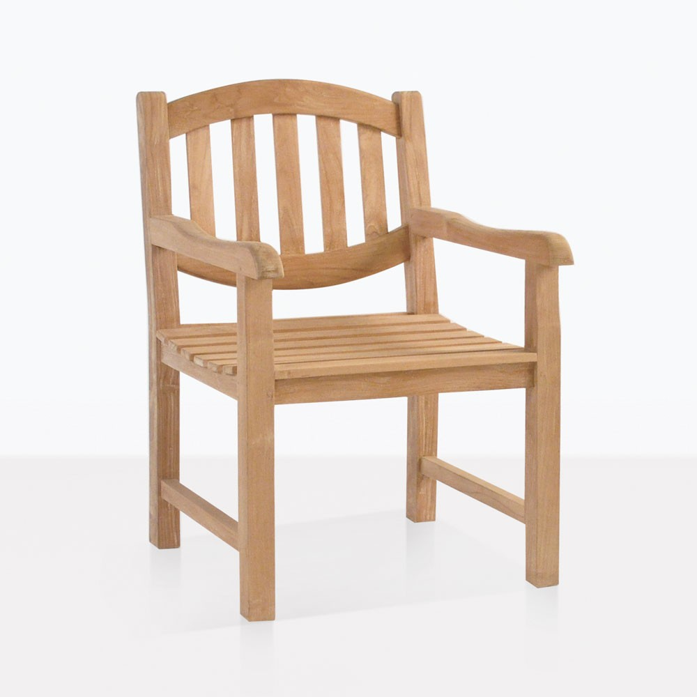 Ovalback Teak Dining Arm Chair Outdoor Patio Seating