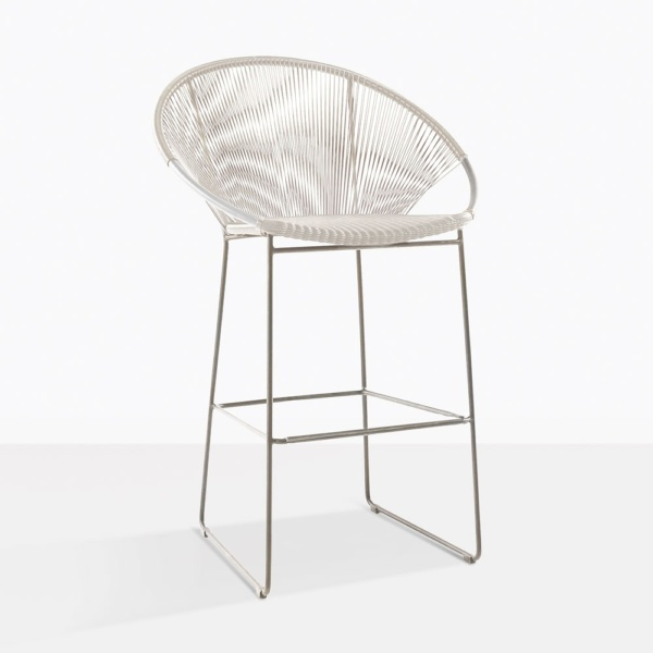 Pietro White Wicker Bar Stool