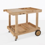 Teak Serving Cart With Wheels