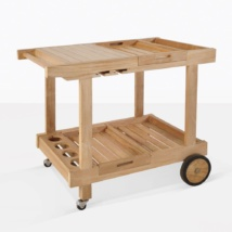 Teak Serving Cart With Wheels