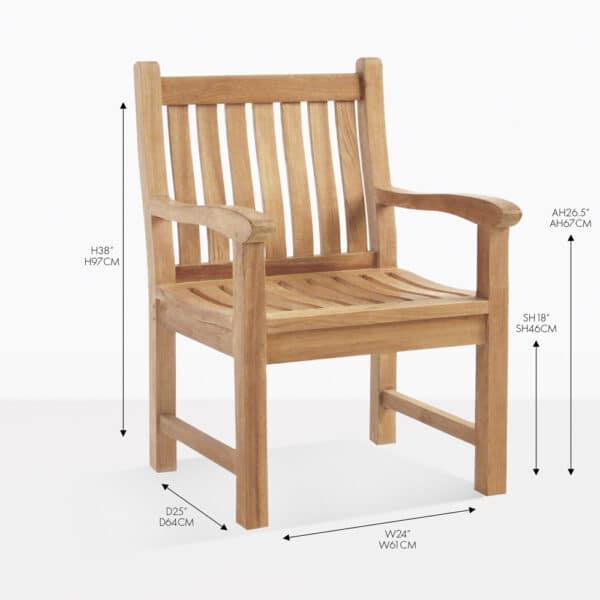 wave teak arm dining chair