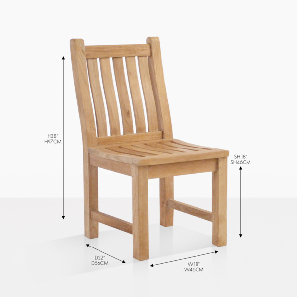 wave teak side dining chair