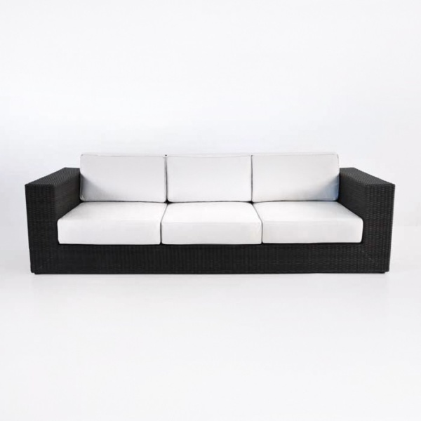 large outdoor wicker sofa with cushions