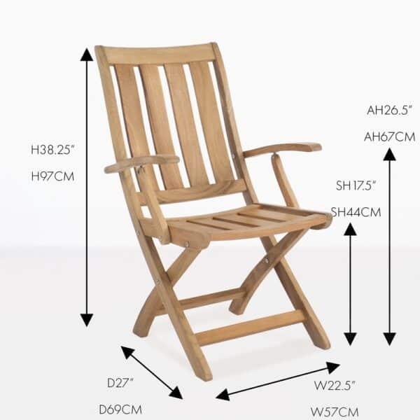 bella teak folding arm chair