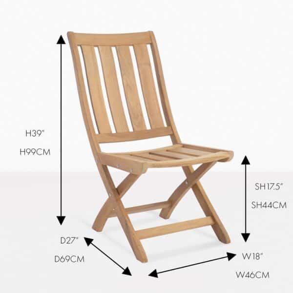 bella teak folding side chair