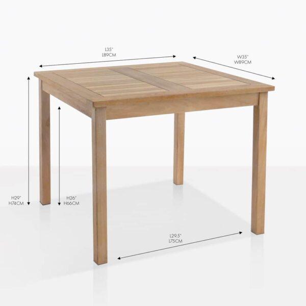 bistro sqaure teak dining table