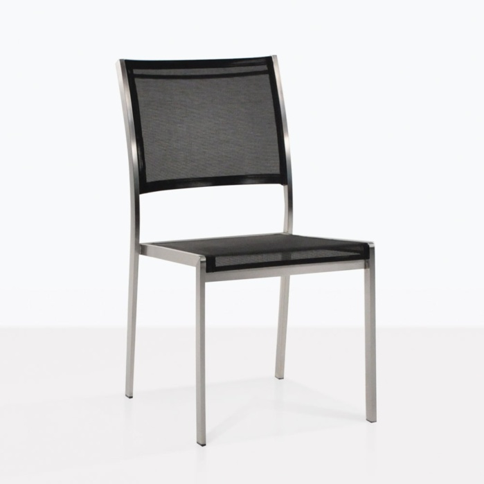 Classic Stainless Steel Dining Chairs in Black