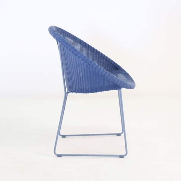 back side blue wicker dinning chair