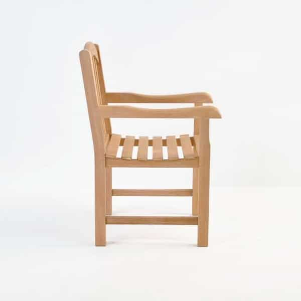 bowback teak dining arm chair side
