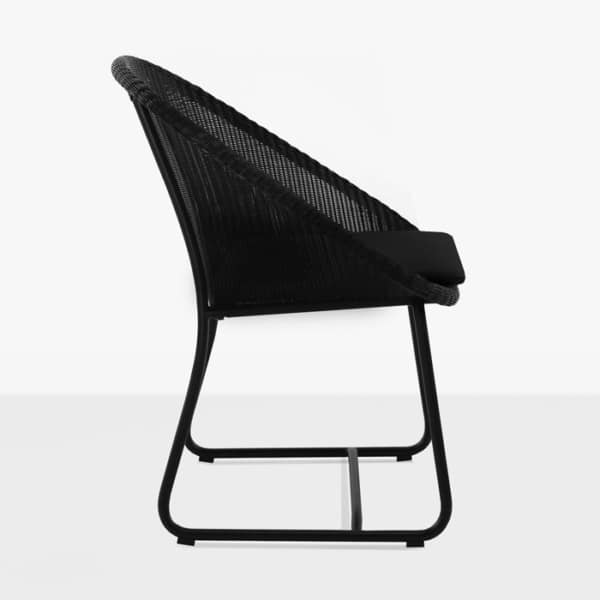 modern wicker dining chair in black