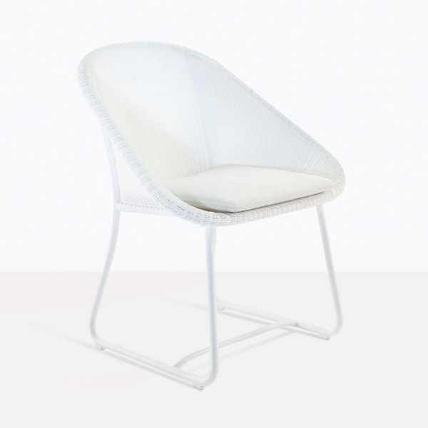 Breeze White Wicker Outdoor Dining Chair