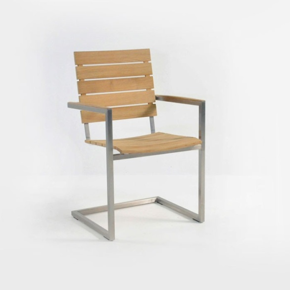 Teak Chair bruno stainless steel outdoor dining chair (teak) | teak warehouse
