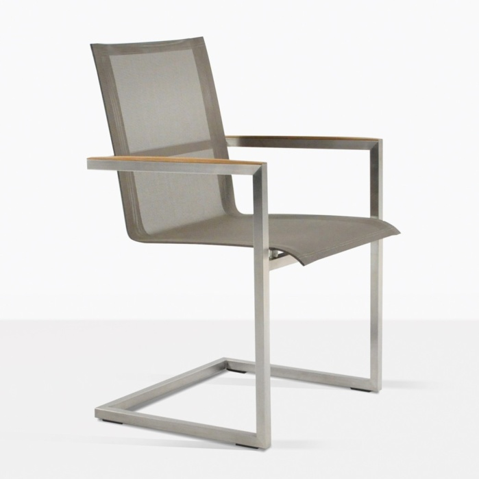 bruno teak dining chair angle taupe