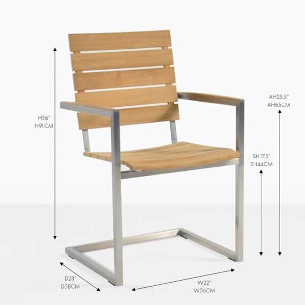 bruno stainless steel teak dining chair