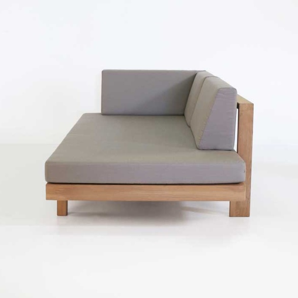 high quality teak daybed with taupe cushions