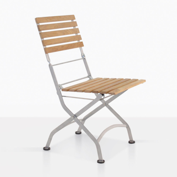 Cafe Teak And Steel Folding Dining Chair