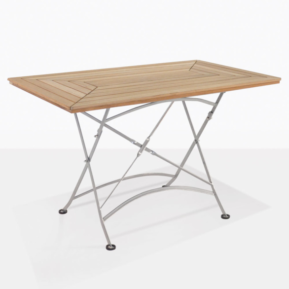 Cafe Teak And Steel Rectangle Dining Table