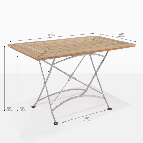 cafe teak rectangular folding table