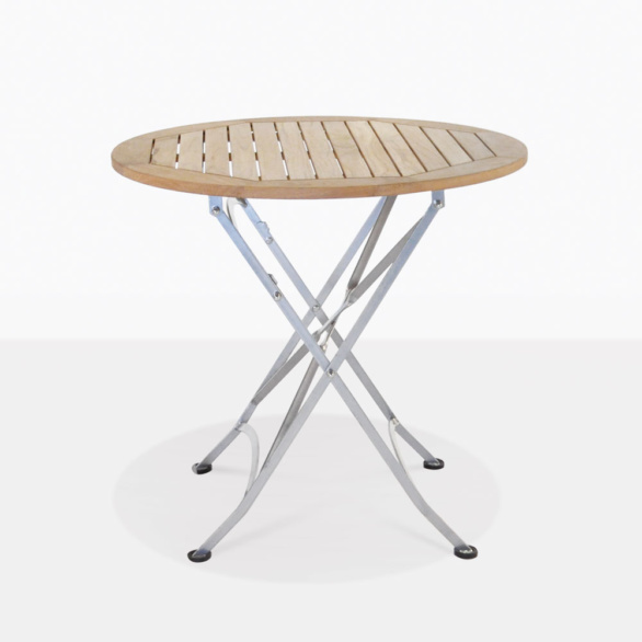 Cafe Teak And Steel Round Outdoor Dining Table