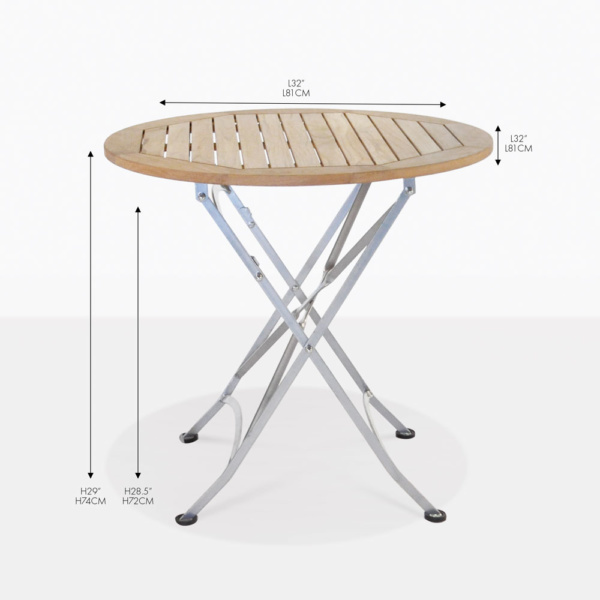 cafe teak round folding dining table