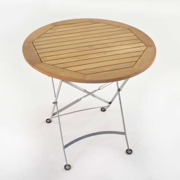 cafe round teak folding table