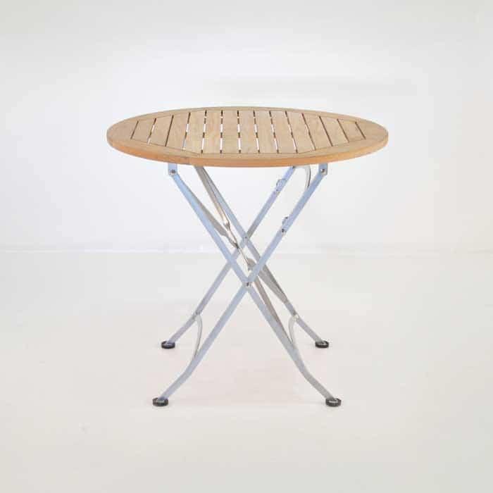 cafe round teak folding table