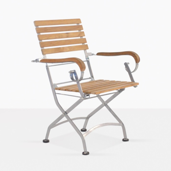 Cafe Teak And Steel Outdoor Dining Chair