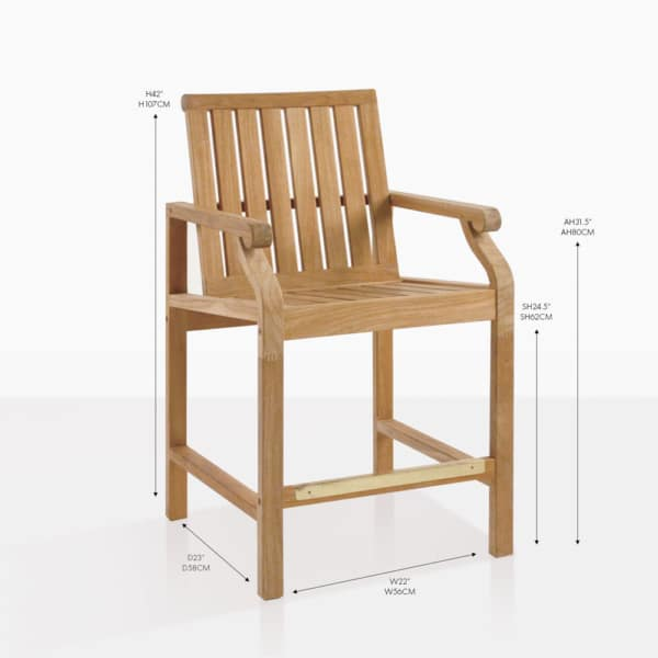 capri teak counter stool