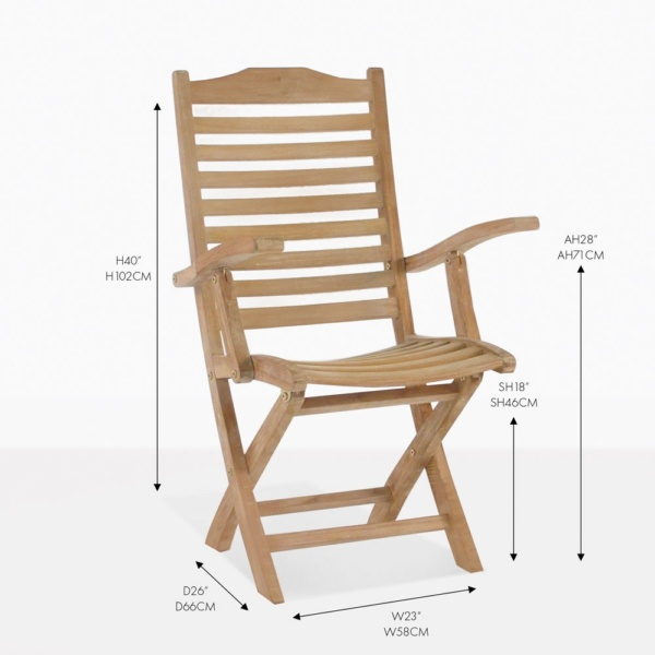 cardive teak arm folding dining chair