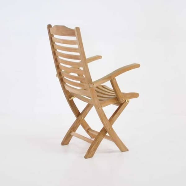 cardive teak folding armchair back view