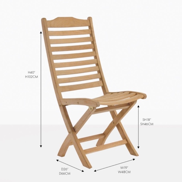 cardive folding teak side dining chair