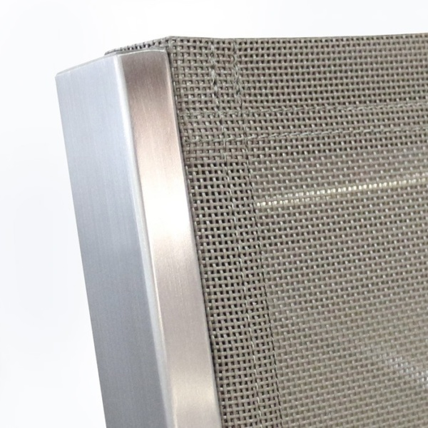 stainless steel outdoor chair closeup