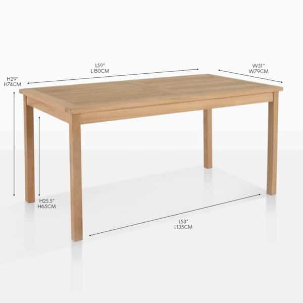 Classic teak outdoor rectangle dining table