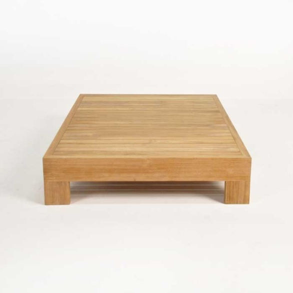 coast teak coffee table end view