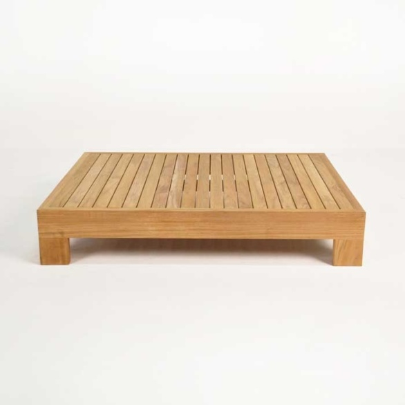 coast teak coffee table side view