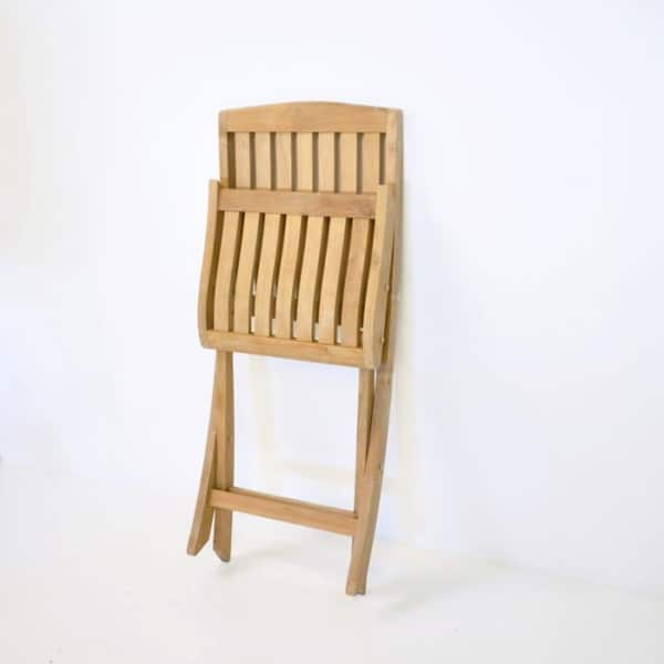 Como Teak Folding Dining Side Chair-3740