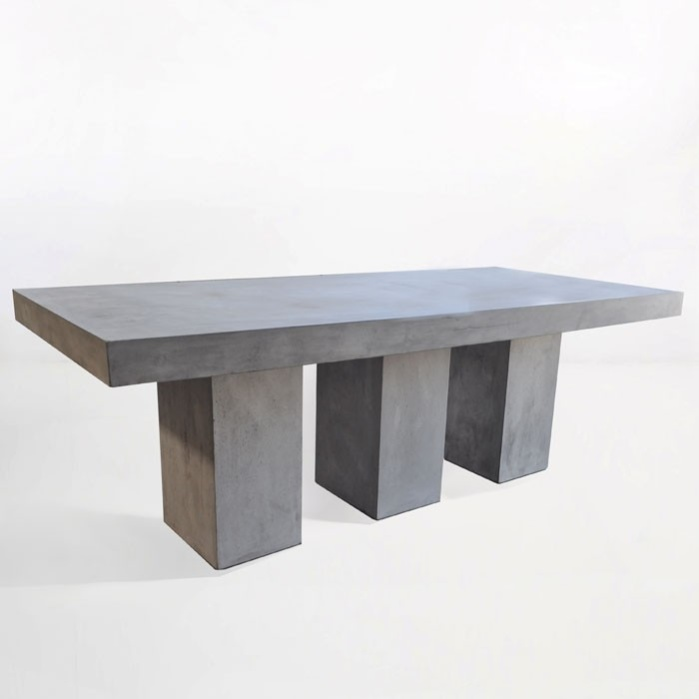 Blok Rectangle 3 Pedestal Concrete Dining Table-0