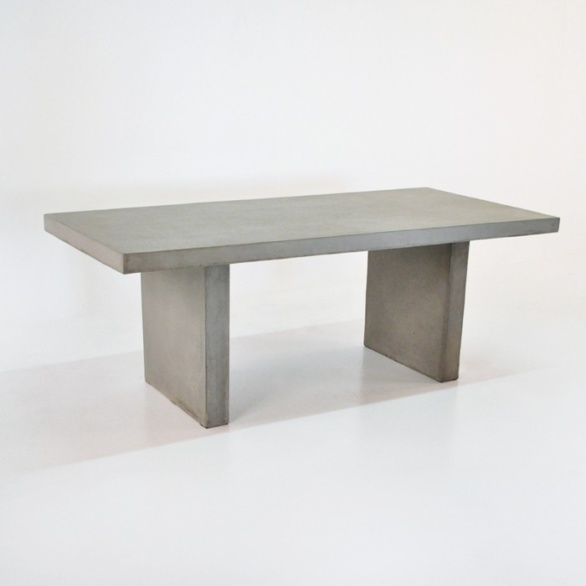 Raw Concrete Rectangular Table Outdoor Dining Furniture Teak