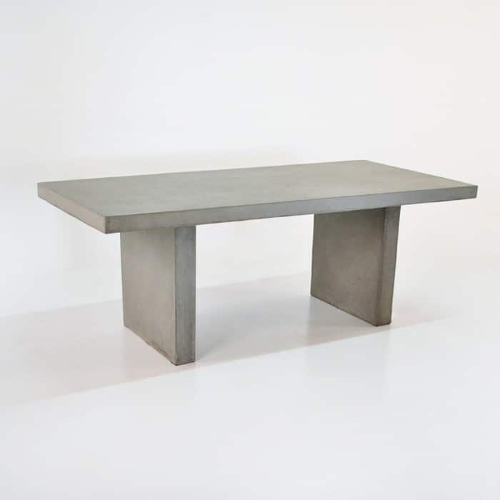 Raw Concrete Rectangular Table Outdoor Dining Furniture