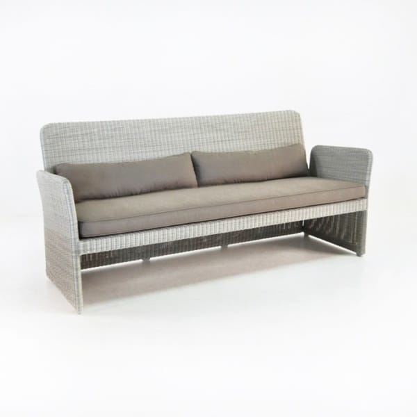 Cube Modern Outdoor Wicker Sofa (Stonewash)-0