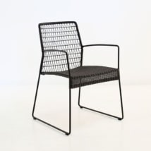 Edge Wicker Dining Arm Chair (Black)-0