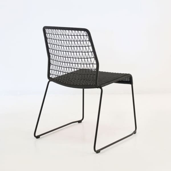 black wicker outdoor dining side chair