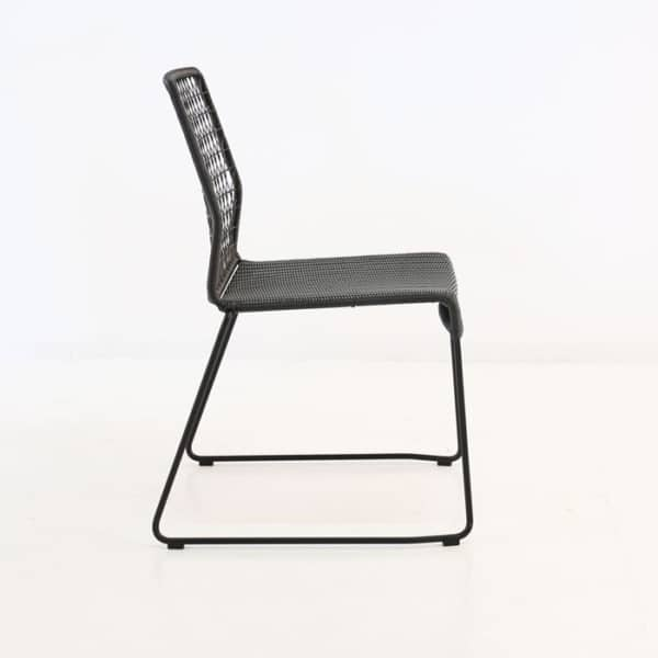 modern outdoor wicker dining chair in black